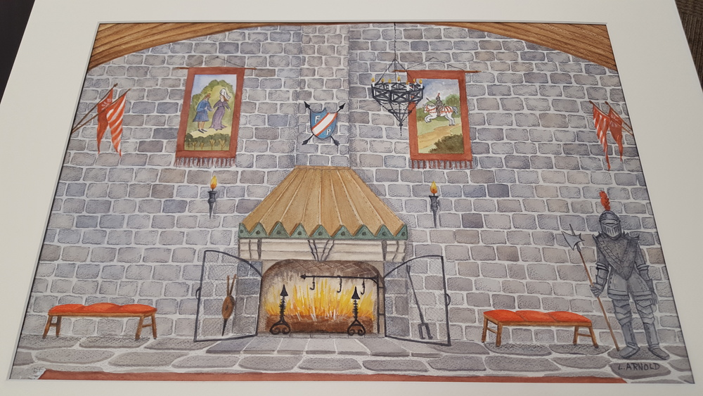 Rendering by Linda Arnold of the Walk-in Fireplace of the 2 story stone hall.