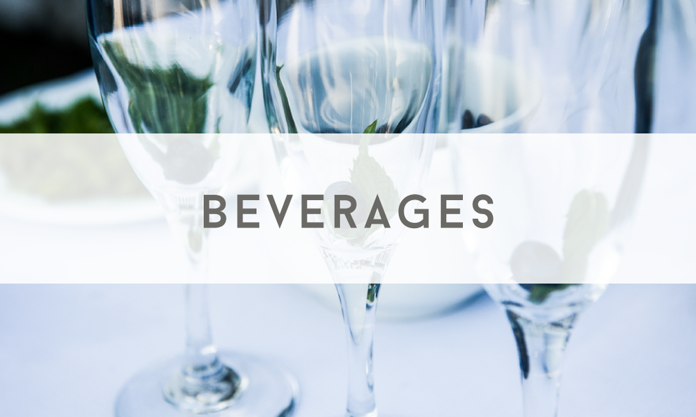 Beverages - Catering Menu - Maine wedding and event catering - Trillium Caterers