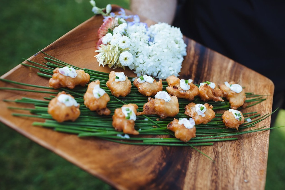 Corn Fritters with Cilantro-Lime Crema   ©Leah Fisher Arsenault