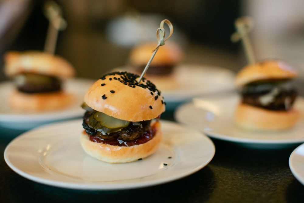Sliders with Canadian Cheddar, Tomato Chutney, and Morse's Pickles | Trillium Caterers