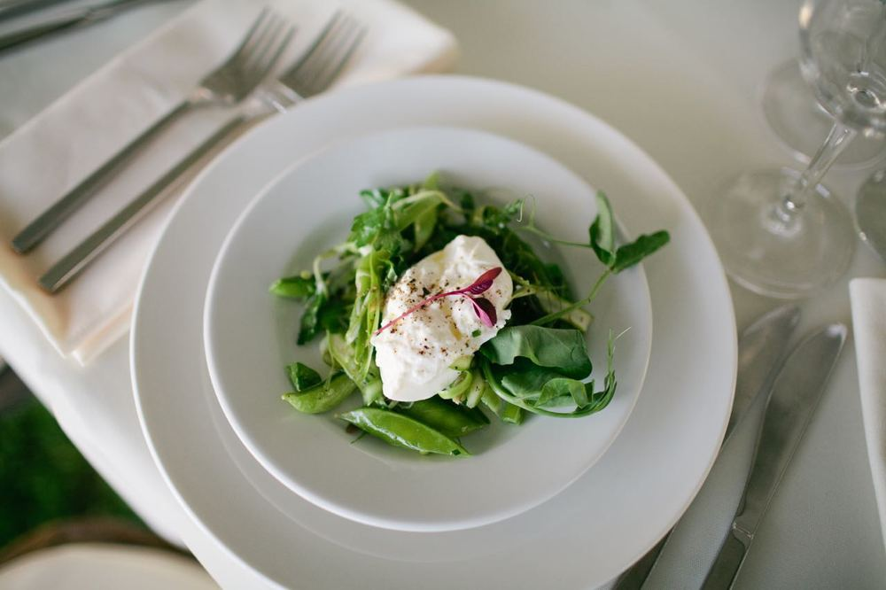 Burrata with Spring Peas and Asparagus | Trillium Caterers