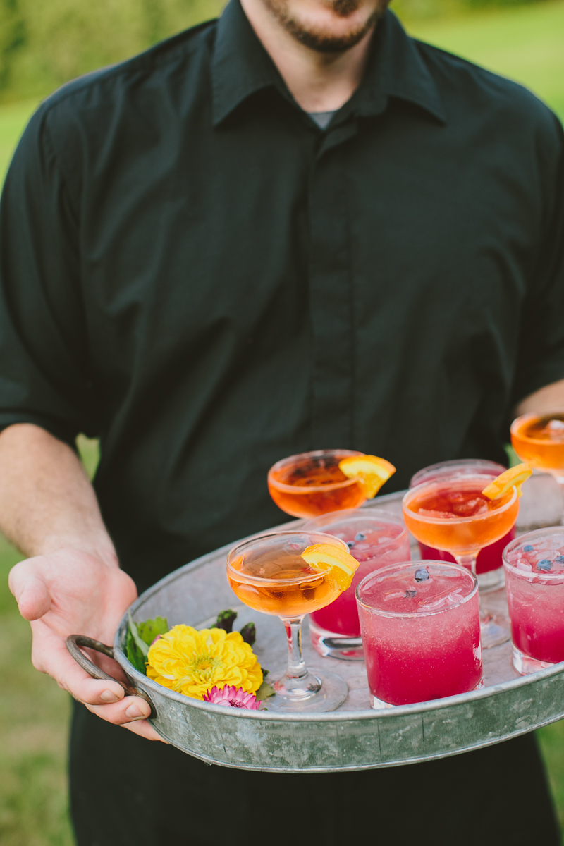 Manhattans and Blueberry-Peach Whiskey Sours  © Henry and Mac