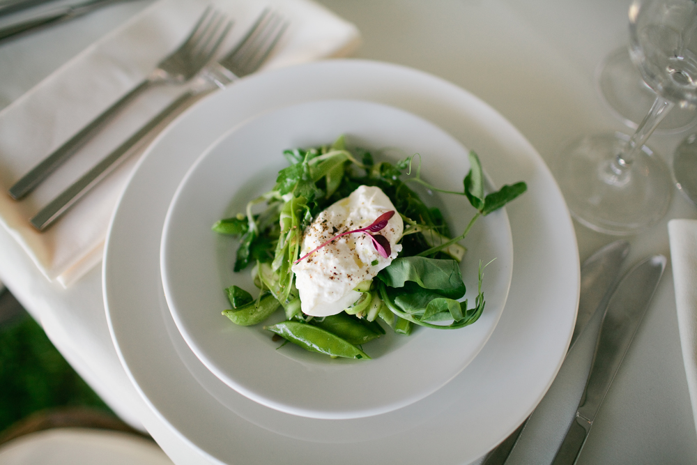 Burrata with Peas, Shaved Asparagus, Tendrils, and Herbs  © Meredith Perdue