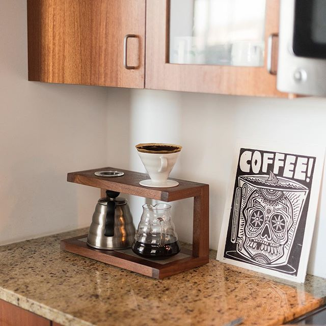 Serving up a much needed Monday morning cup in our original pour over stand. We're currently working on a new version in the shop, so stay tuned.
