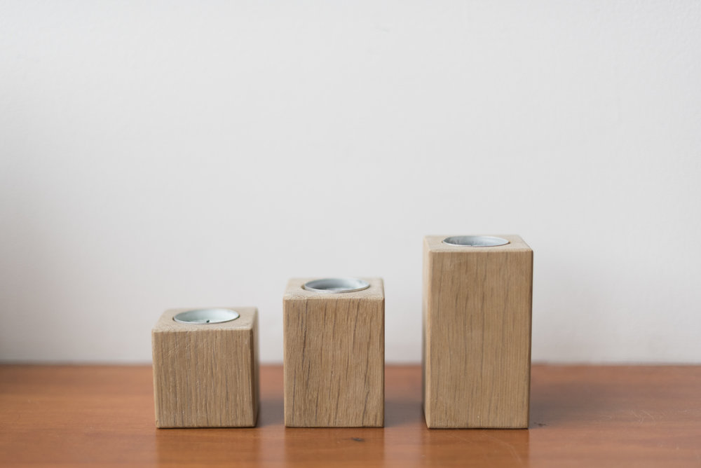 Set of Three White Oak Candle Votives