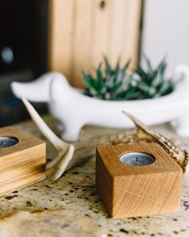 White oak block tea light holders and a mascot
