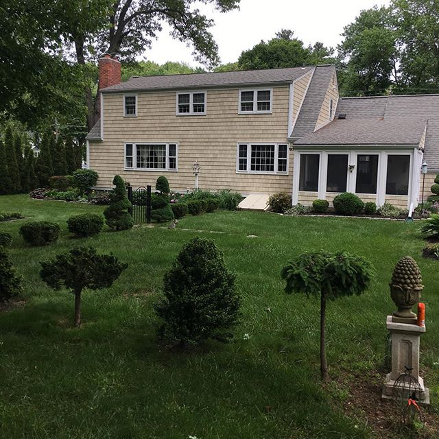 House we sided with #nucedar composite shingle. looks great one year later #glastonburyct