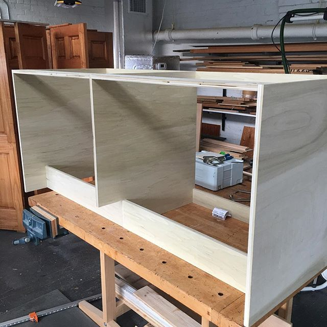 Back in the shop this afternoon to work on the custom built in cabinet #glastonburyct  #carpentry