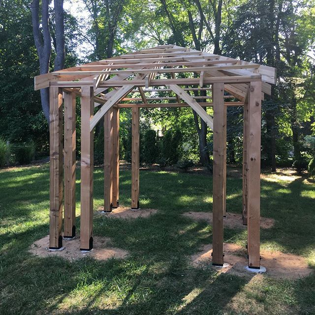 Pergola in #glastonburyct made out of cedar #carpentry