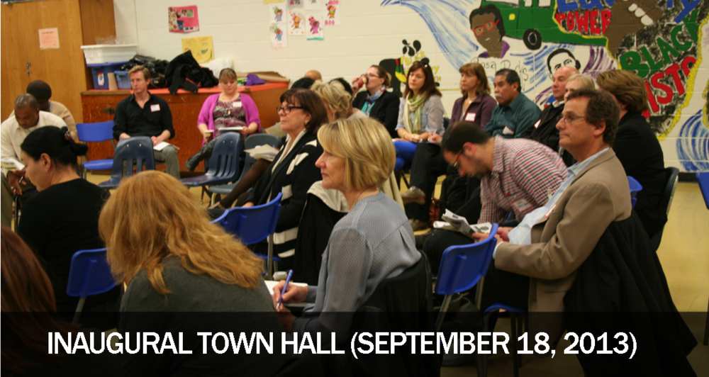 The goals for the Inaugural Town Hall were: (1) to introduce the community to the Systems Improvement through Service Collaboratives [link] initiative, including CAMH's role as sponsor, and (2) to open a discussion around the prospective impacts of the initiative and of community needs in North York and City of York related to children and youth with mental health and addictions issues and their families.