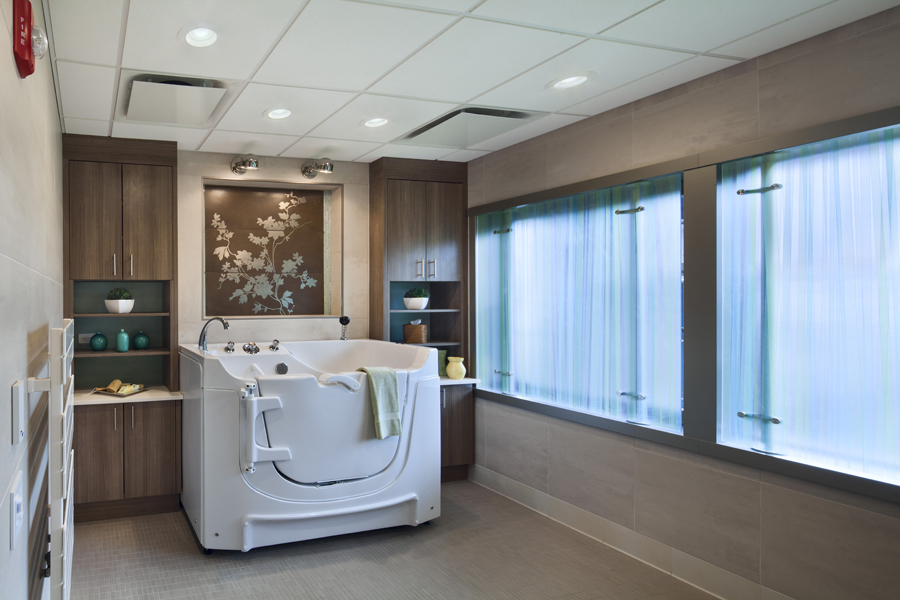 Parker Jewish Institute: 2 North. Tobin Parnes Design. NY. Healthcare Design. Tub Room.