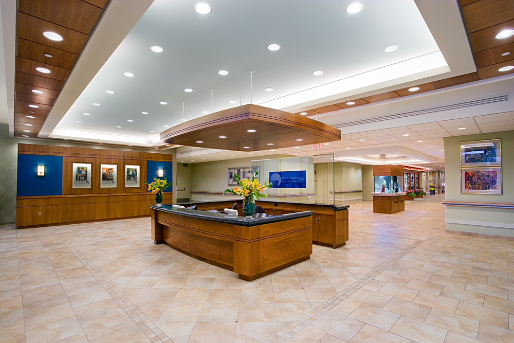 Parker Jewish Institute. Tobin Parnes Design. NY. Healthcare Design. Lobby Reception.