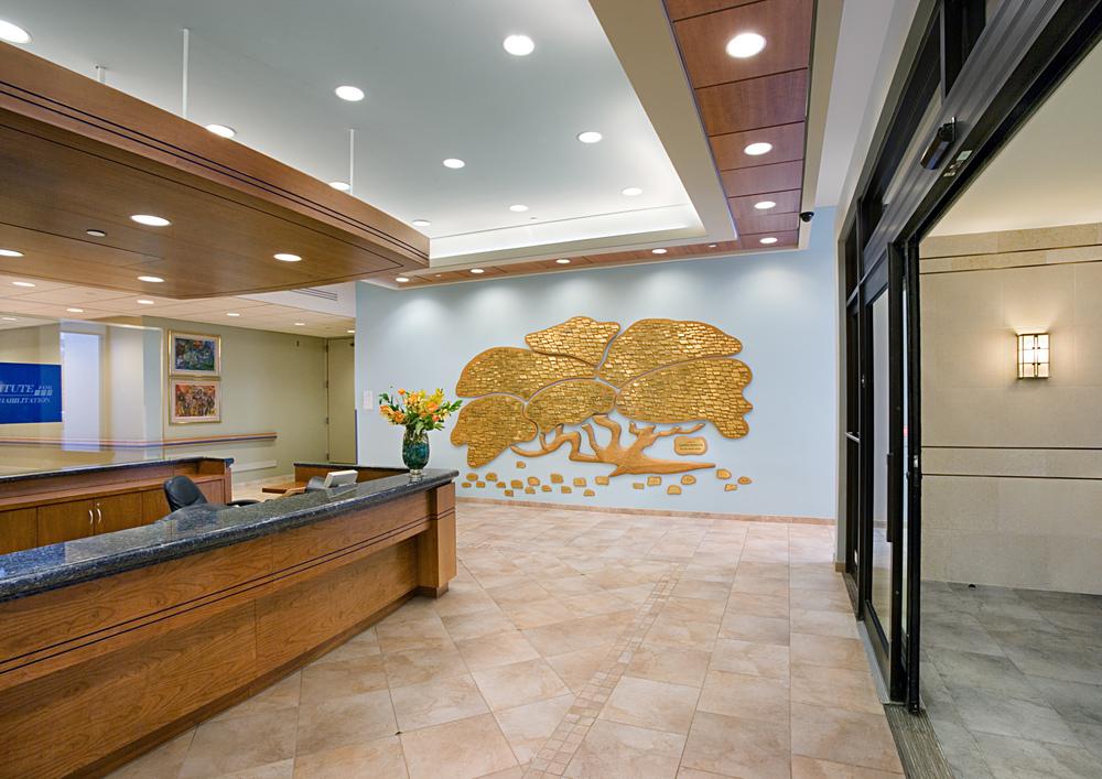 Parker Jewish Institute. Tobin Parnes Design. NY. Healthcare Design. Lobby Reception. Doner Wall.