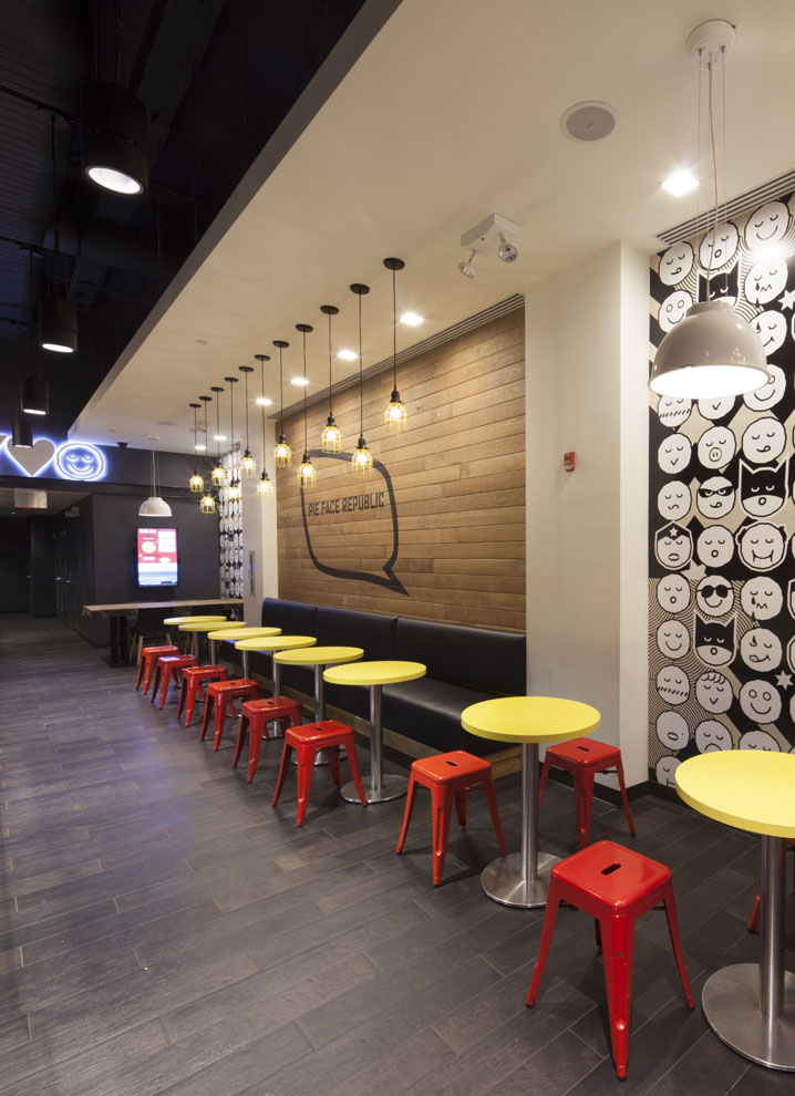 Tobin Parnes Design. Pie Face. NYC. Hospitality Design. Restaurant. Seating. Lighting.