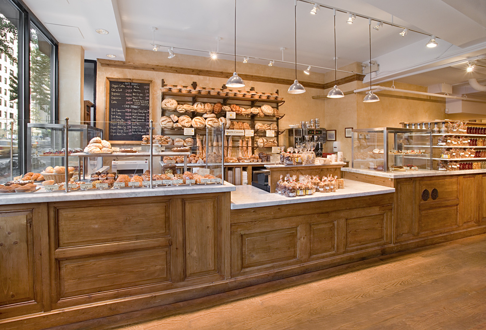 Le Pain Quotidien. Tobin Parnes Design. NYC. Hospitality Design. Restaurant. Cafe. Bakery. Millwork. Counter. Lighting.