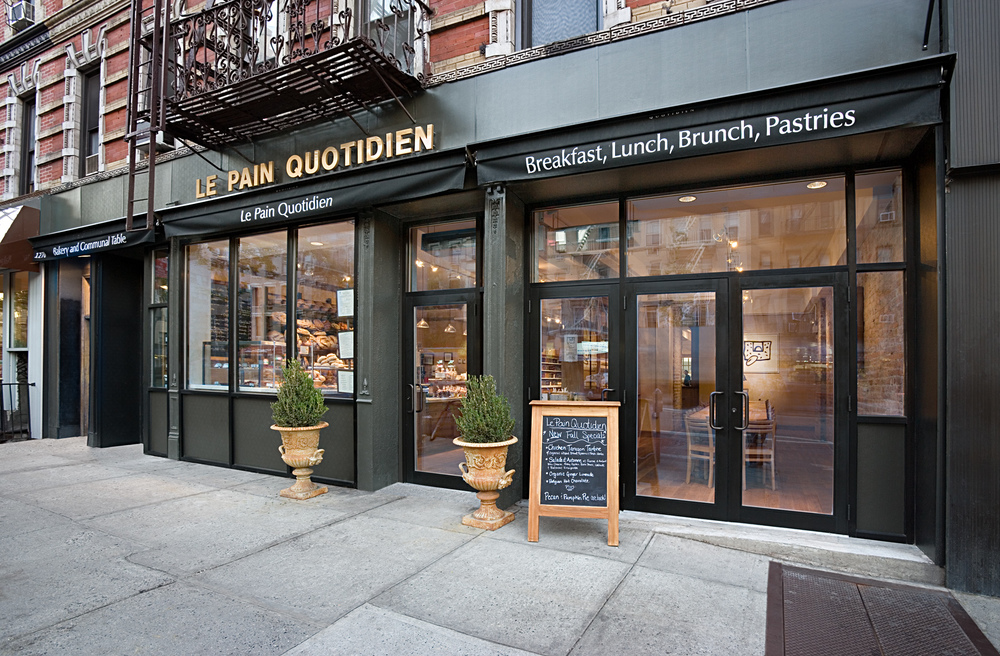 Le Pain Quotidien. Tobin Parnes Design. NYC. Hospitality Design. Restaurant. Cafe. Bakery. Facade. Storefront.