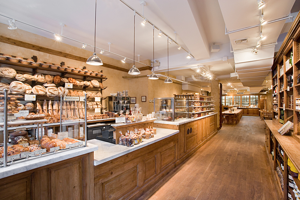 Tobin Parnes Design. Le Pain Quotidien. NYC. Hospitality Design. Restaurant. Cafe. Bakery. Counter. Millwork. Wood.