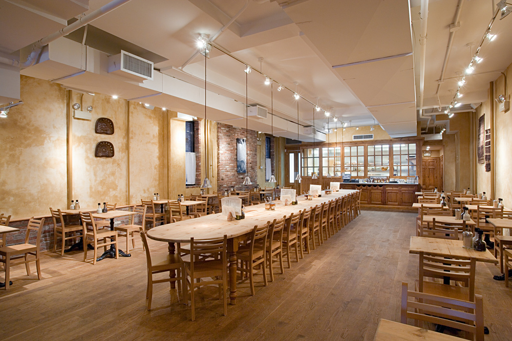 Tobin Parnes Design. Le Pain Quotidien. NYC. Hospitality Design. Restaurant. Cafe. Bakery. Seating.