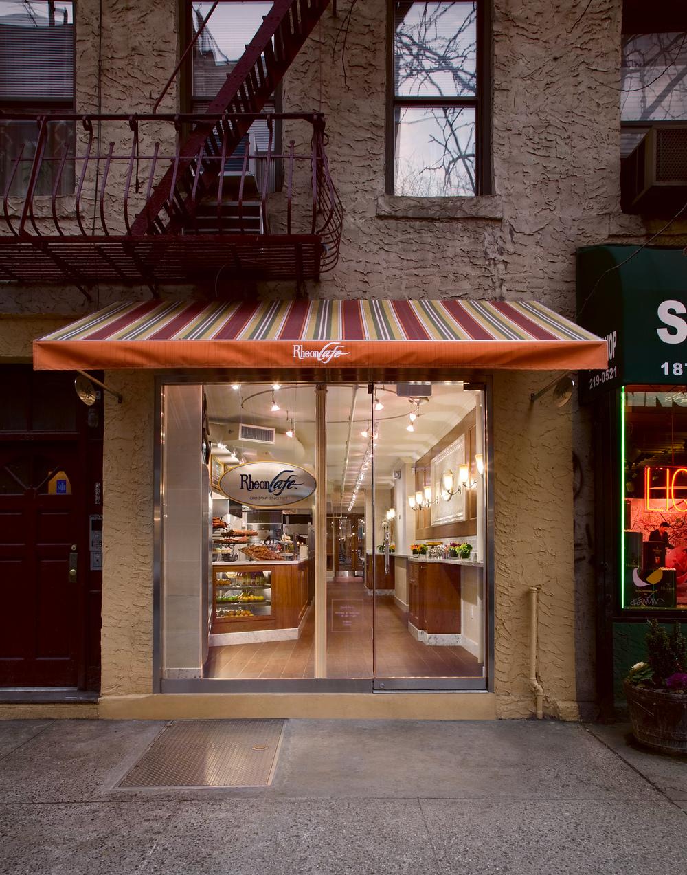 Rheon Cafe. Tobin Parnes Design. NYC. Hospitality Design. Restaurant. Cafe. Bakery. Storefront. Facade.