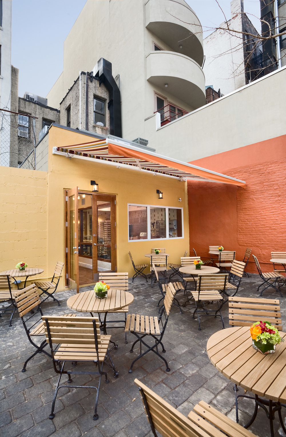 Tobin Parnes Design. Rheon Cafe. NYC. Hospitality Design. Restaurant. Cafe. Bakery. Patio. Outdoors. Exterior.