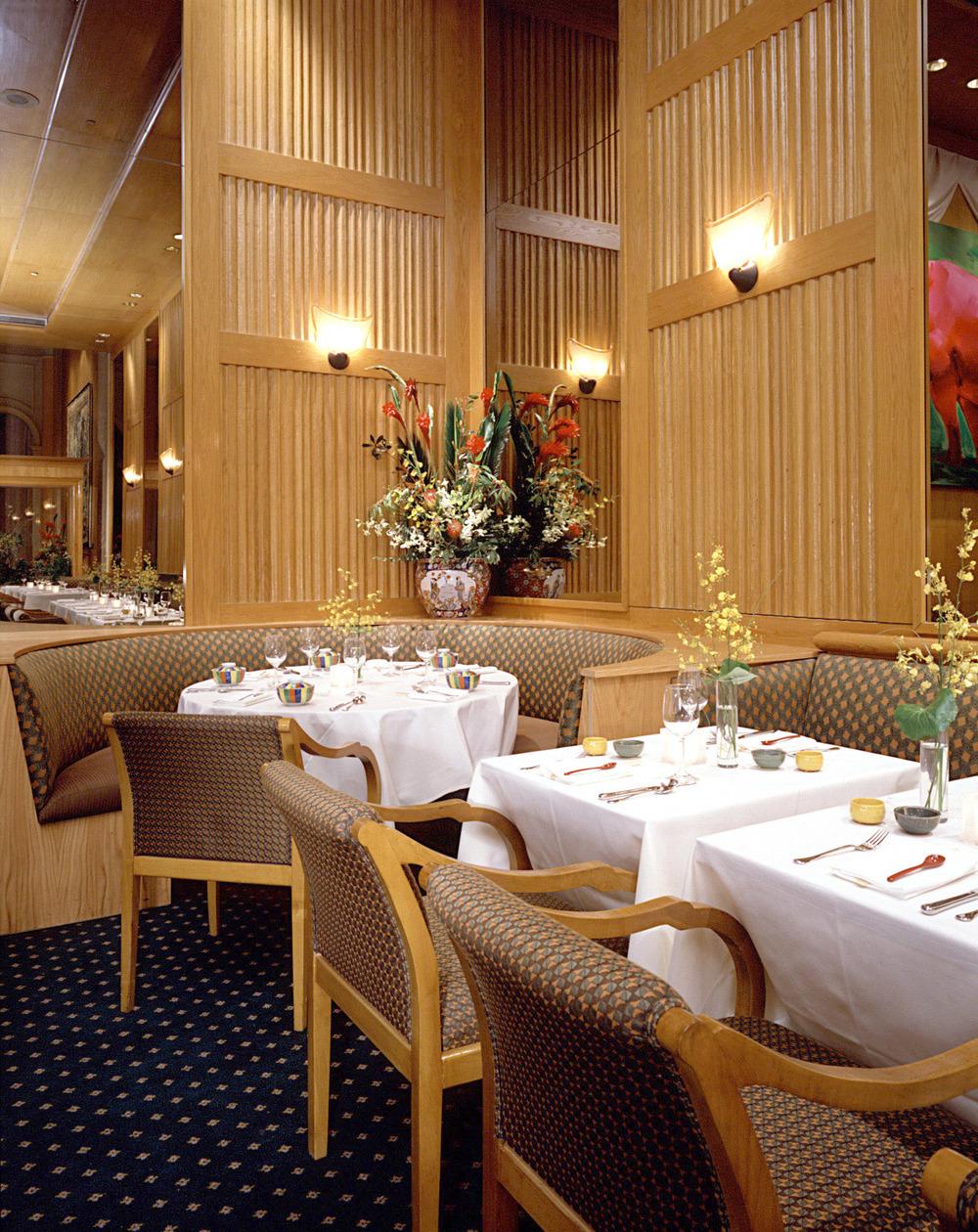 Tobin Parnes Design. Shin's Restaurant & Hotel Lobby. NYC. Hospitality Design. Restaurant. Millwork. Furniture. Seating.