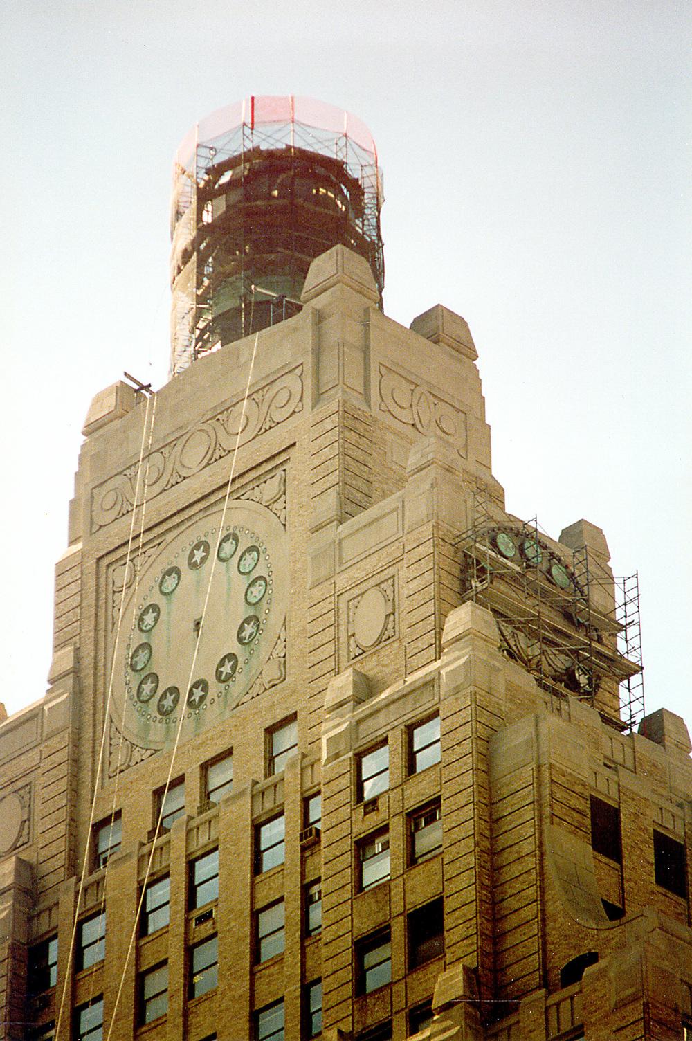 Globe & Clock Restoration. Tobin Parnes Design. New York, NY. Historic Preservation. Times Square.