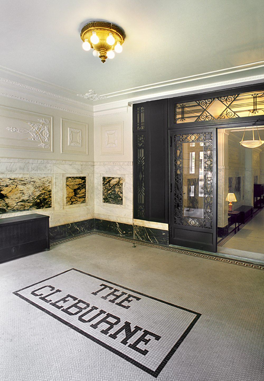 The Cleburne Historic Lobby.  Tobin Parnes Design. New York, NY. Historic Preservation. Entrance Area.