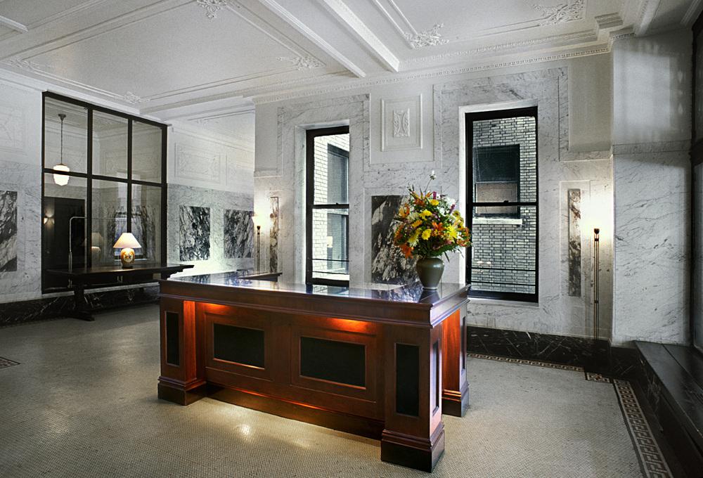 The Cleburne Historic Lobby.  Tobin Parnes Design. New York, NY. Historic Preservation. Reception Desk.