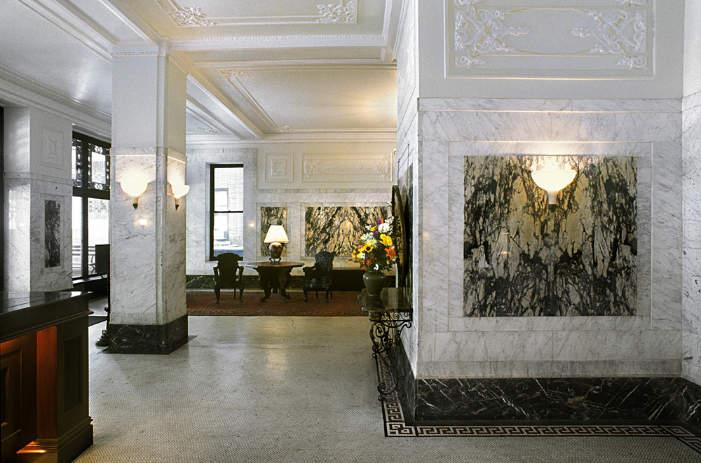 The Cleburne Historic Lobby.  Tobin Parnes Design. New York, NY. Historic Preservation. Main Lobby.