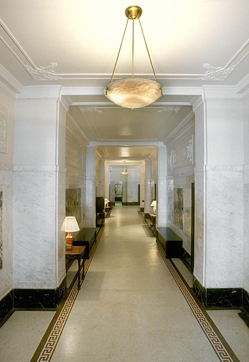 The Cleburne Historic Lobby.  Tobin Parnes Design. New York, NY. Historic Preservation. Corridor.