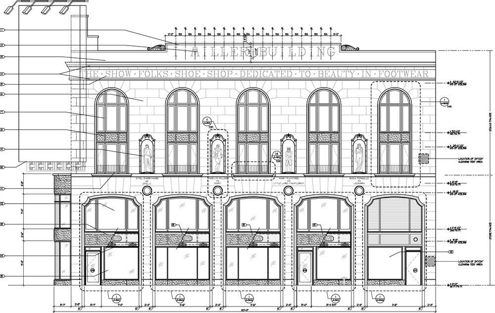 I. Miller Building Facade Restoration. Tobin Parnes Design. New York, NY. Historic Preservation. Times Square.