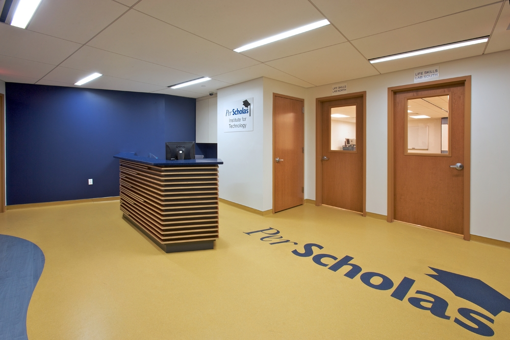 Per Scholas Headquarters. Tobin Parnes Design. Queens, New York. Cultural and Institutional. Reception Area.