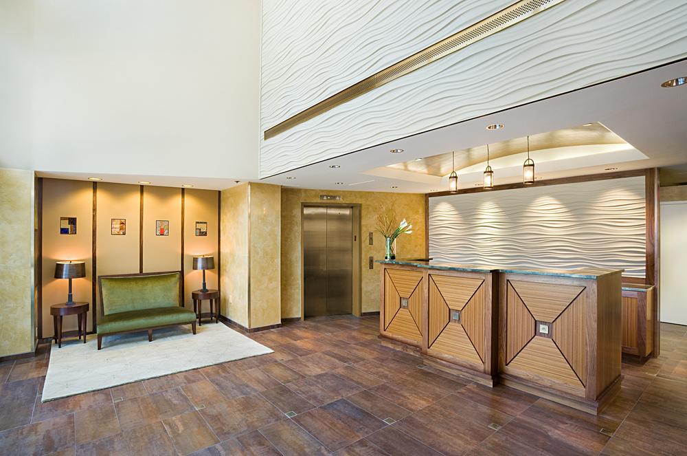 Riva Point. Tobin Parnes Design. Weehawken, New Jersey. Residential. Lobby.