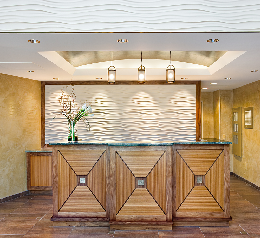 Riva Point. Tobin Parnes Design. Weehawken, New Jersey. Residential. Reception Desk.