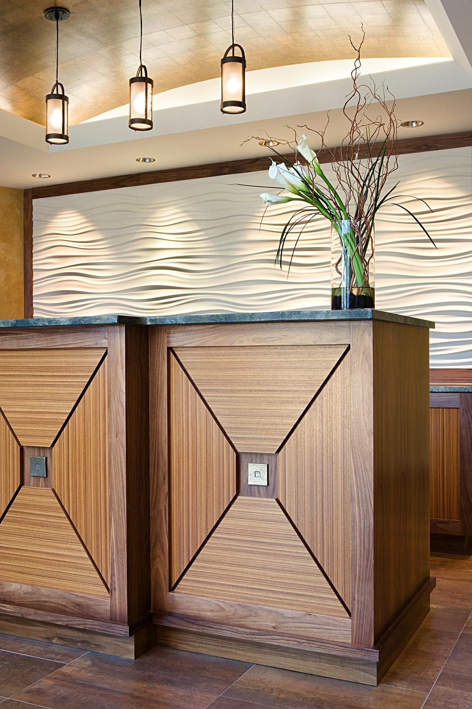 Riva Point. Tobin Parnes Design. Weehawken, New Jersey. Residential. Reception. Desk Detail.