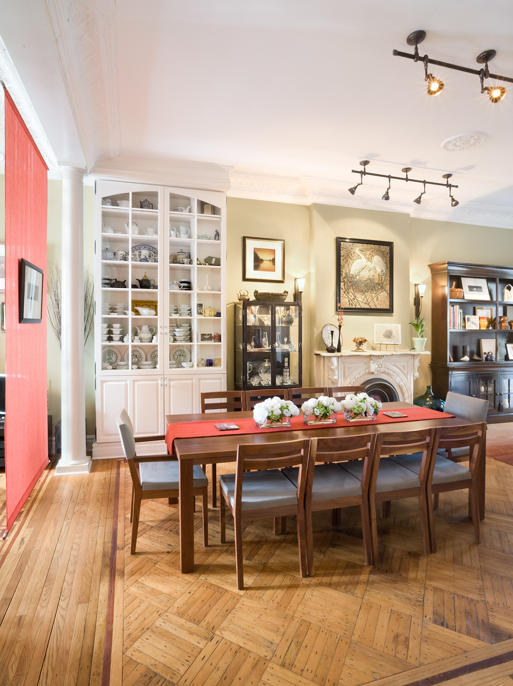Historic Brownstone Residence. Tobin Parnes Design. Brooklyn, NY.  Residential. Dining Area