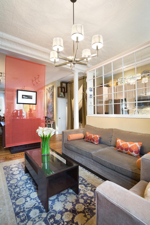 Historic Brownstone Residence. Tobin Parnes Design. Brooklyn, NY. Residential. Open Plan. Living Room.