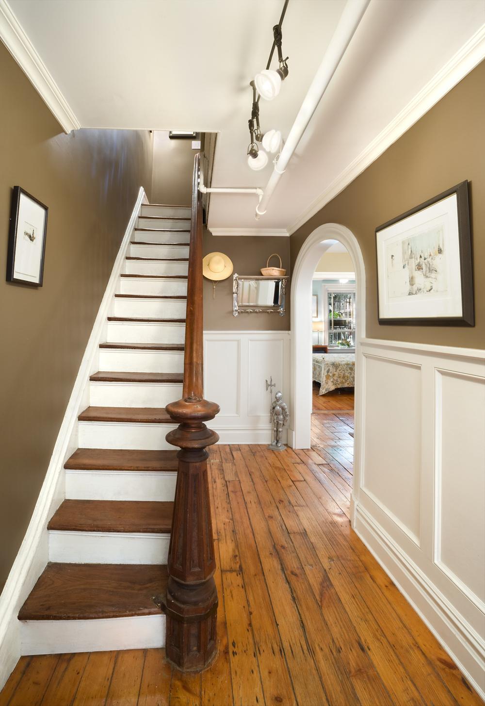 Historic Brownstone Residence. Tobin Parnes Design. Brooklyn, NY. Residential. Hallway. Stair.