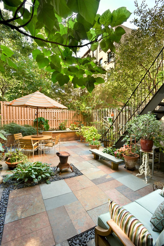 Historic Brownstone Residence. Tobin Parnes Design. Brooklyn, NY. Residential. Exterior. Garden.