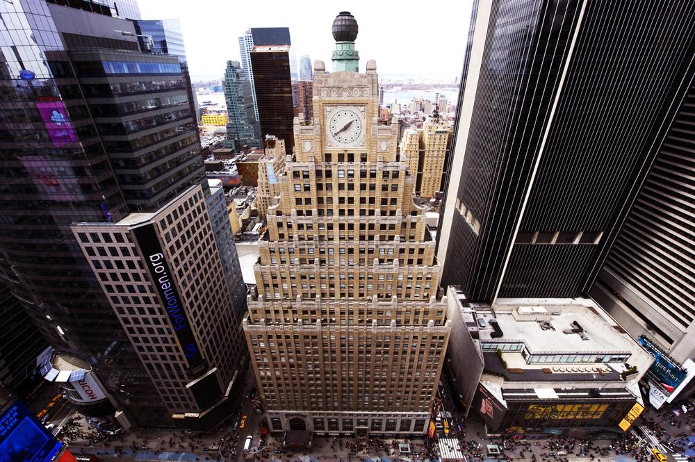 Tobin Parnes Design. New York, NY. Globe & Clock Restoration. Historic Preservation. Times Square.
