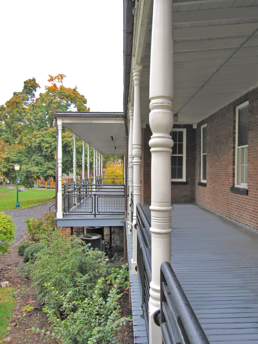 Community Center at West Point. Tobin Parnes Design. West Point, New York. Cultural and Institutional. Porch Detail.