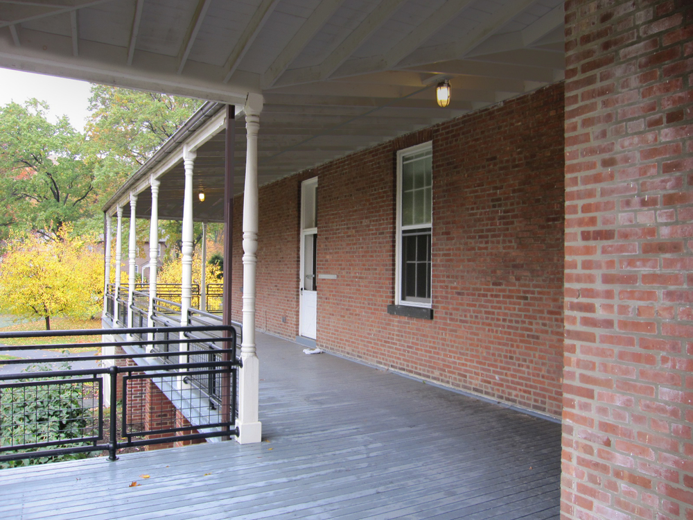 Community Center at West Point. Tobin Parnes Design. West Point, New York. Cultural and Institutional. Porch View.