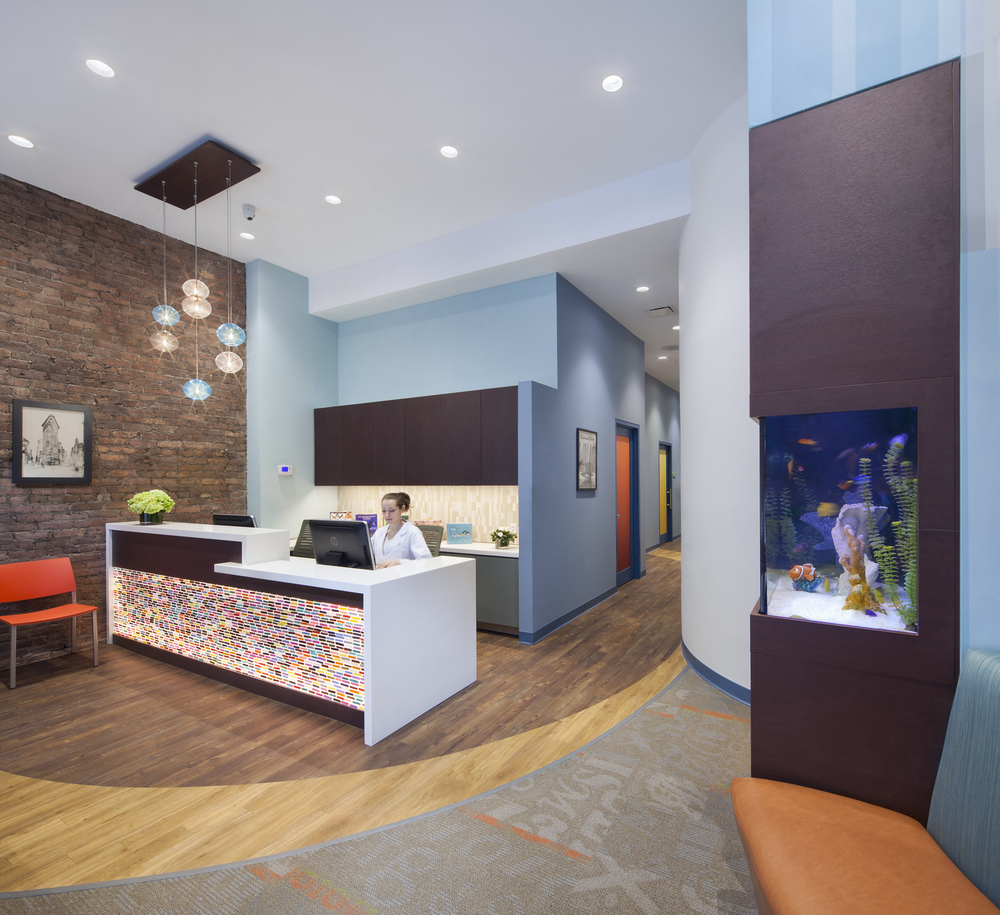Flatiron Pediatrics. Tobin Parnes Design. NYC. Healthcare Design. Reception.