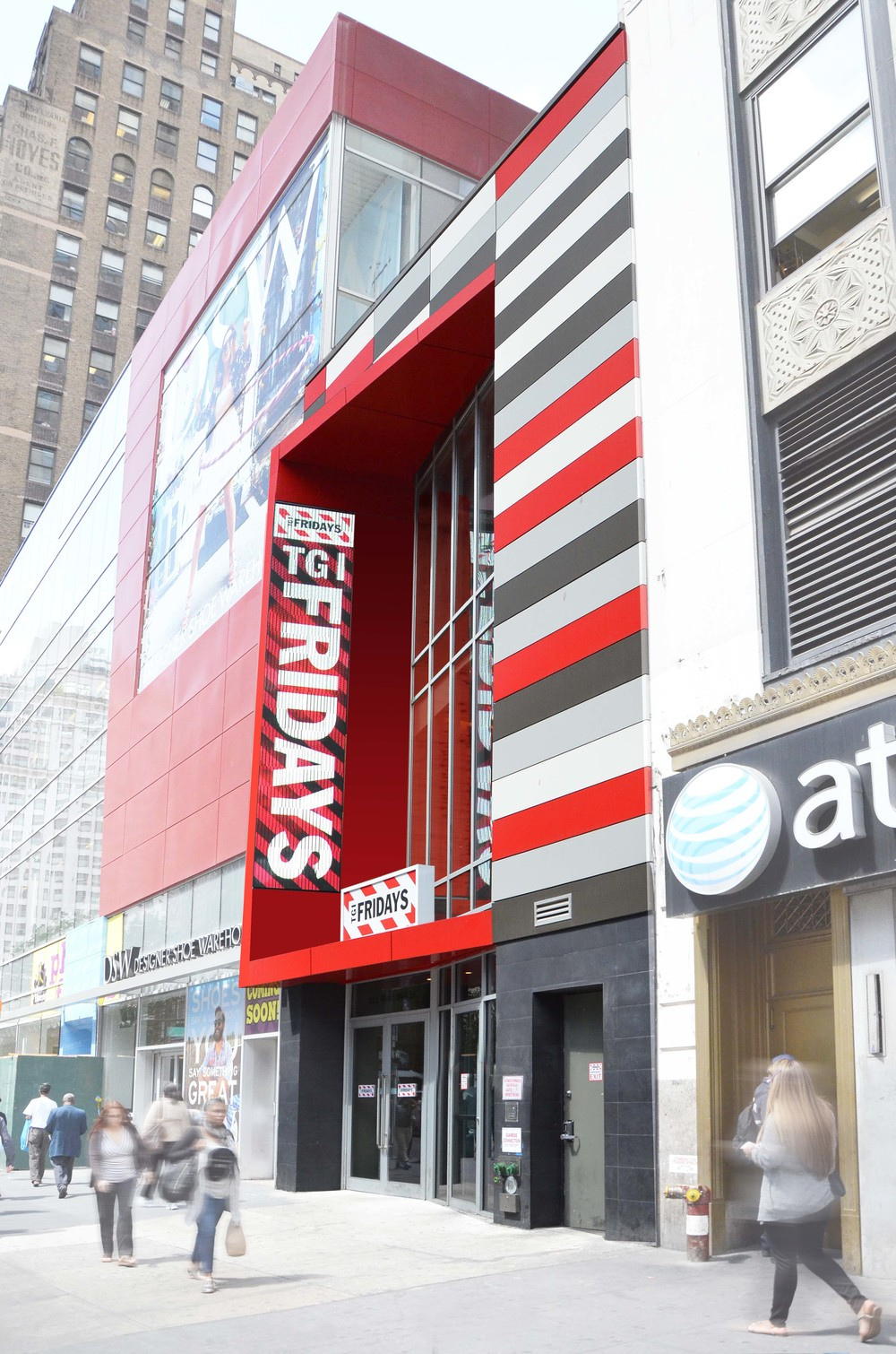 Tobin Parnes Design. TGI Friday's. NYC. Hospitality Design. Restaurant. Facade. Storefront. Stripes