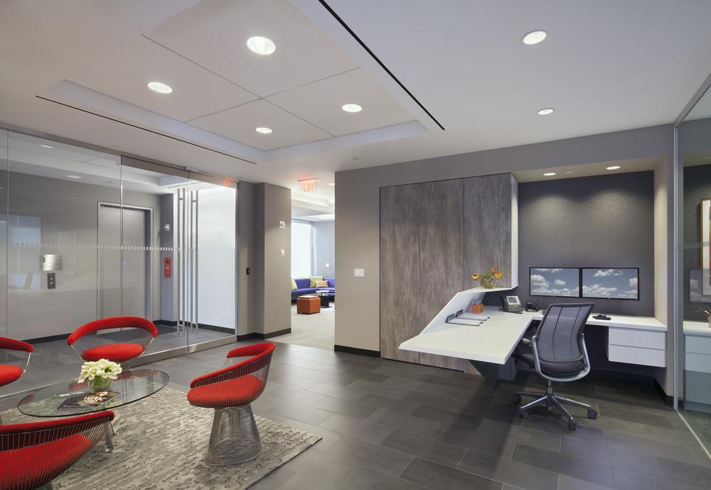 Tobin Parnes Design. NYC. Workplace. Reception Design