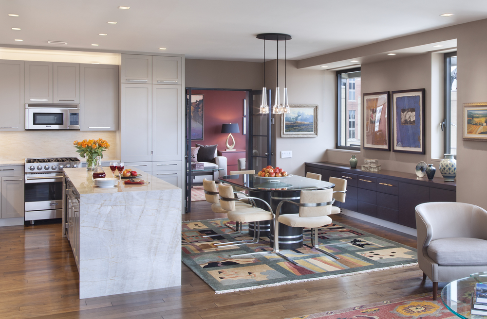 Private Residence. Tobin Parnes Design. New York. Residential. Open Plan. Dining Area and Kitchen.
