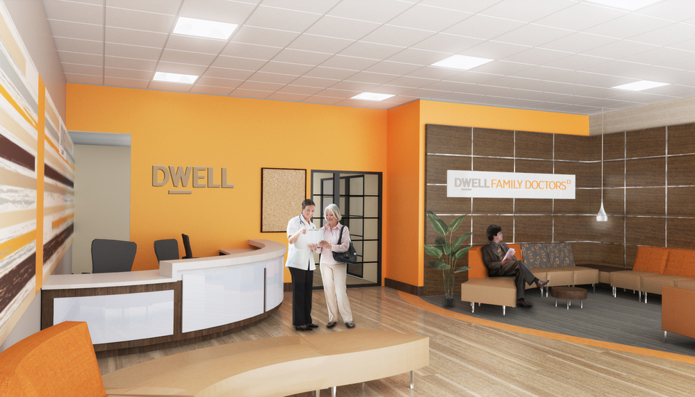 Dwell Family Doctors. Tobin Parnes Design. NYC. Healthcare Design. Reception. Waiting Area.