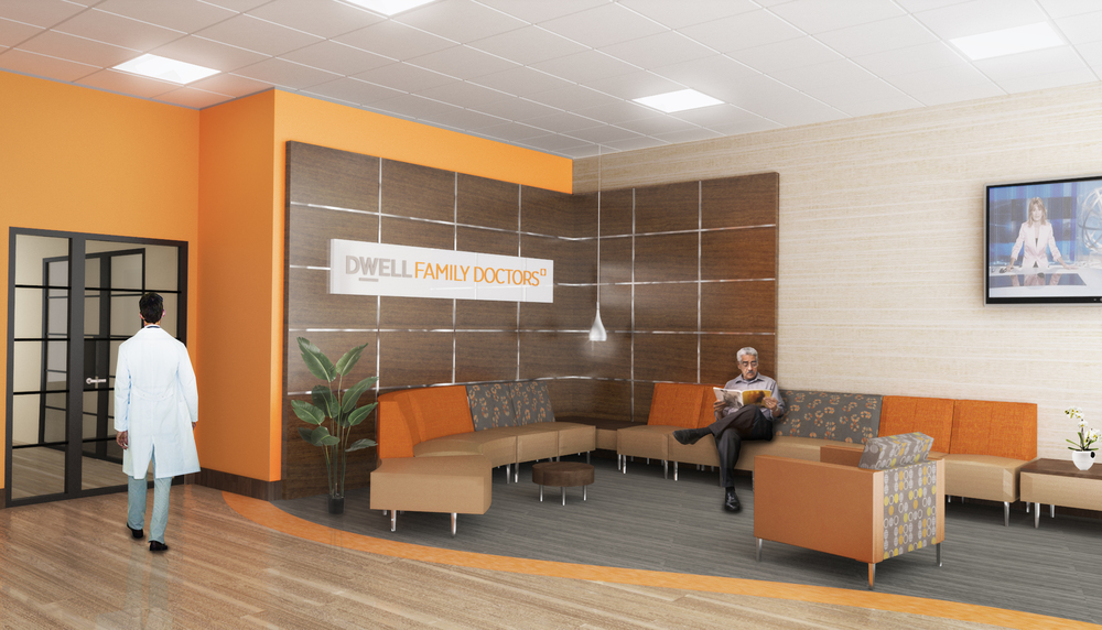 Dwell Family Doctors. Tobin Parnes Design. NYC. Healthcare Design. Waiting Area.