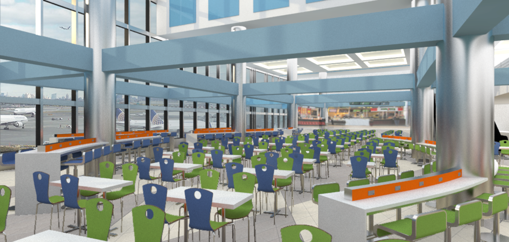 LaGuardia Airport. Tobin Parnes Design. Queens, NY. In Progress. Dining Area.