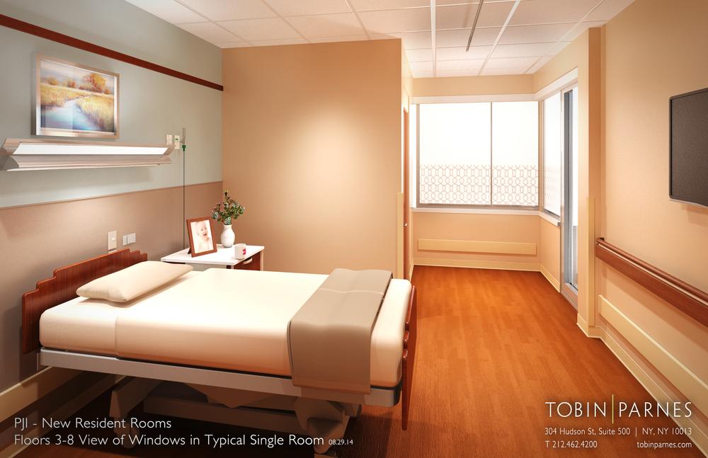PJI 3-8 Resident Rooms. Tobin Parnes Design. New York. In Progress. Private Resident Room.
